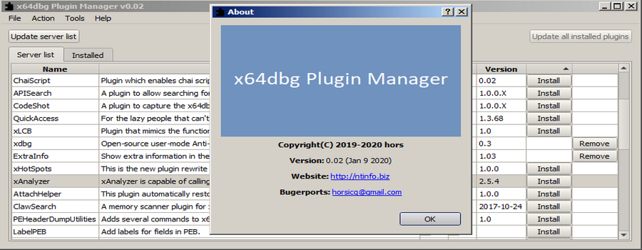 x64dbg Plugin Manager